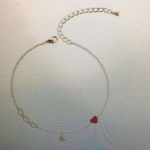 Crystal Pendant Bracelet, w/Sweet Red/Black Heart